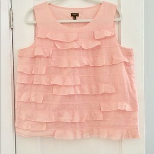 Talbots Soft Pink Cotton Ruffle Blouse 14p L XL